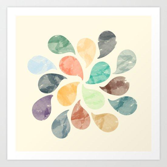 Colorful Water Drops (Watercolor version) Art Print