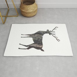 deer silhouette stag black bark with lichen Rug