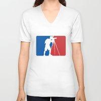league V-neck T-shirts featuring Landscape League by Preston Lee Design