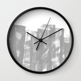 Rolled Ink Texture in Gray and White Wall Clock