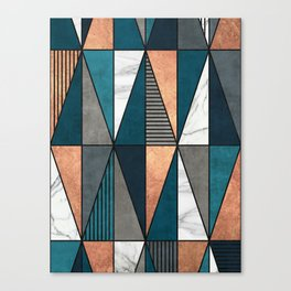 Copper, Marble and Concrete Triangles with Blue Canvas Print