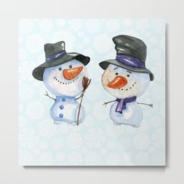 Two Snowmen Characters on Snowflake Background Metal Print