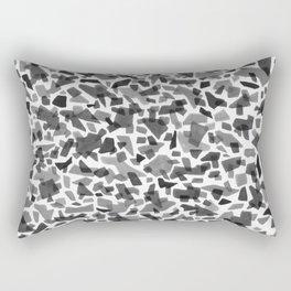 Black and White Terrazzo Tile Rectangular Pillow