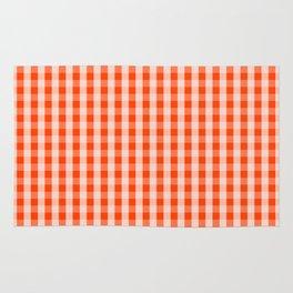 Bright Neon Orange Gingham Check Rug