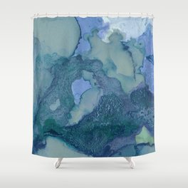Ink in Blue and Green Shower Curtain