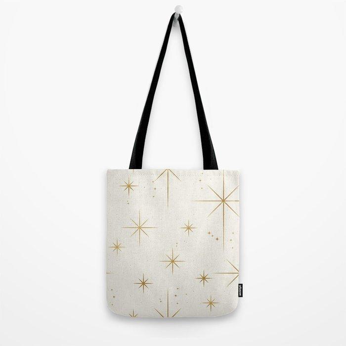 Seamless Pattern Glamorous White Gold Art Deco Stars Constellations Minimalist Geometric Pattern Tote Bag