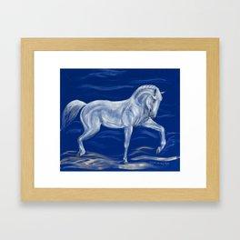 White horse on blue velvet Framed Art Print