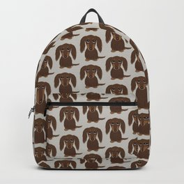 Longhaired Chocolate Dachshund Backpack