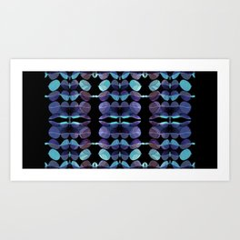 """Retro Blue Abstract painting"" Art Print"