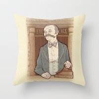 wes anderson Throw Pillows featuring Monsieur Ivan or Bill Murray on The Grand Budapest Hotel from Wes Anderson by suPmön