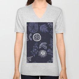 Botanical blue china Unisex V-Neck