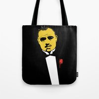 godfather Tote Bags featuring GODFATHER by miszkurka
