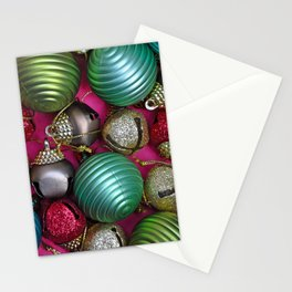 Colorful christmas ornaments Stationery Cards