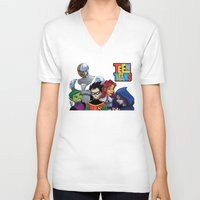 teen titans V-neck T-shirts featuring Teen Titans by Paige Thulin