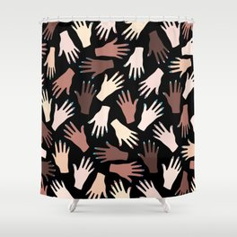Nail Expert Studio - Colorful Manicured Hands Pattern on Black Background Shower Curtain