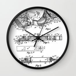 Barber Hair Clippers Patent - Barber Shop Art - Black And White Wall Clock