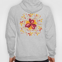 Orange And Pink Clover Abstract Floral Hoody