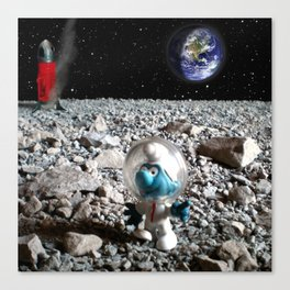 Smurf in the Moon Canvas Print