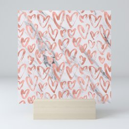 Hearts Rose Gold Marble Mini Art Print