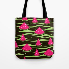 Watermelon on black background . 1 . Tote Bag
