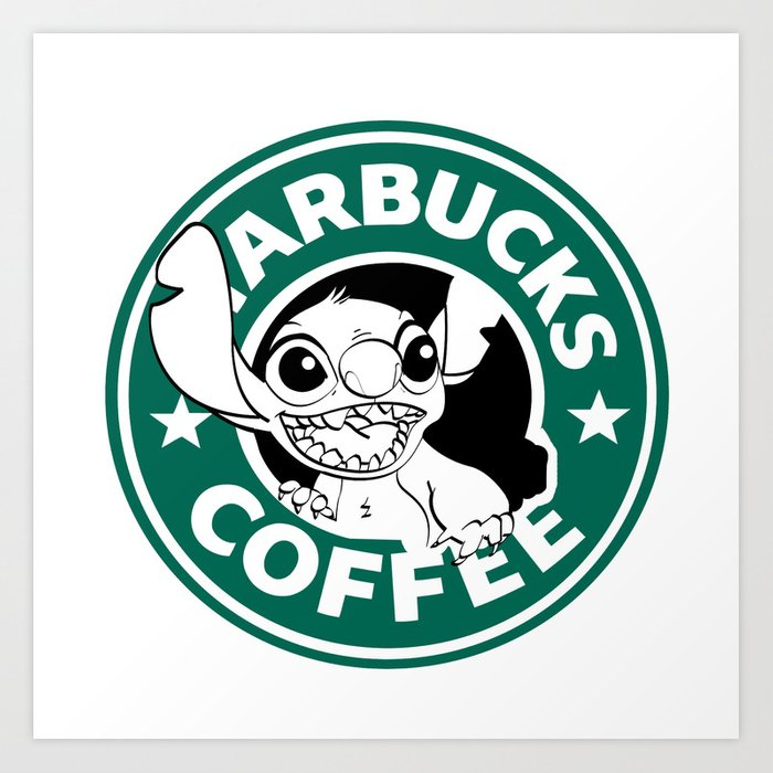 No More Coffee For You Stitch Starbucks Logo Art Print By Randomcitizen