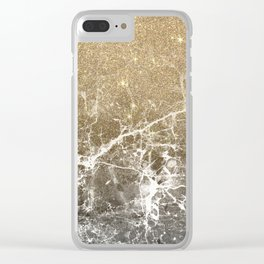 Vintage black white gold glitter marble Clear iPhone Case