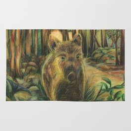 Wild pig in the wood Rug