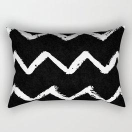 Chevron Stripes White on Black Rectangular Pillow