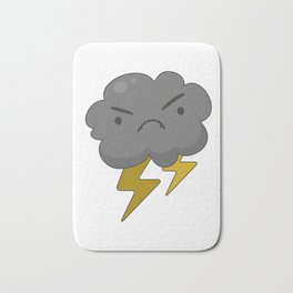 Angry Cloud with Lightning Thunderstorm Bath Mat
