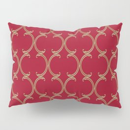 Gold Moroccan Lattice on Red Pillow Sham