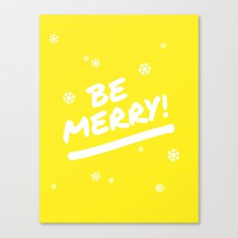 Bright Yellow Be Merry Christmas Snowflakes Canvas Print