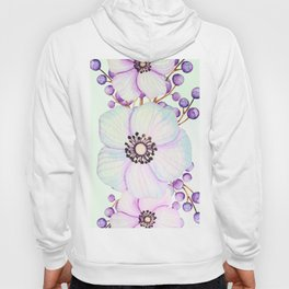 Turquoise And Violet Flowers Hoody
