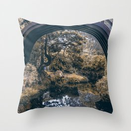 Bridge in a Japanese Garden Throw Pillow