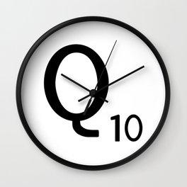 Letter Q - Custom Scrabble Letter Tile Art - Scrabble Q Initial Wall Clock