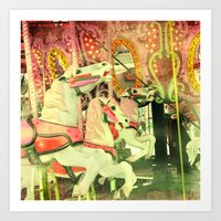 carousel Art Prints featuring Carousel by elle moss