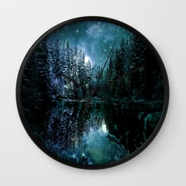 Winter Wonderland Forest Green Teal : A Cold Winter's Night Wall Clock