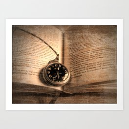 Rustic Story Time Still life Book Watch Modern Cottage Chic Art A551 Art Print