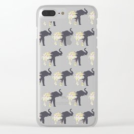 Floral Elephant Animal Print Clear iPhone Case