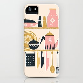 Colorful Cooking In A Mid Century Scandinavian Kitchen iPhone Case