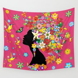 Hummingbird Kiss on Floral Girl  Wall Tapestry