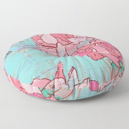Pink roses, floral print in pastels Floor Pillow