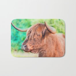 Highland cow watercolor painting #11 Bath Mat