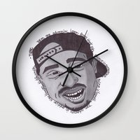 "tupac Wall Clocks featuring Tupac ''State Of Mind"" by SkilledCreativity"