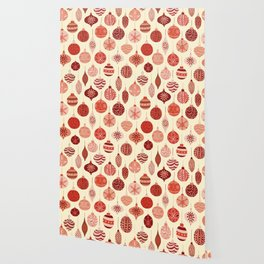 Christmas Ornaments Red Pink Beige Pattern Wallpaper