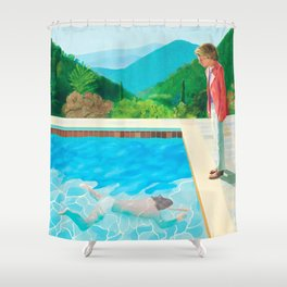 stand and swim people Shower Curtain