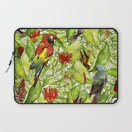 My tropical Summer Flowers and Birds Garden - Jungle Pattern Laptop Sleeve
