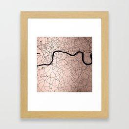 London Rosegold on Black Street Map Framed Art Print