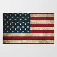 american flag Area & Throw Rugs featuring American Flag by Abbie :)