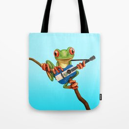 Tree Frog Playing Acoustic Guitar with Flag of El Salvador Tote Bag