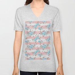 Pink teal watercolor modern stripes floral dots Unisex V-Neck